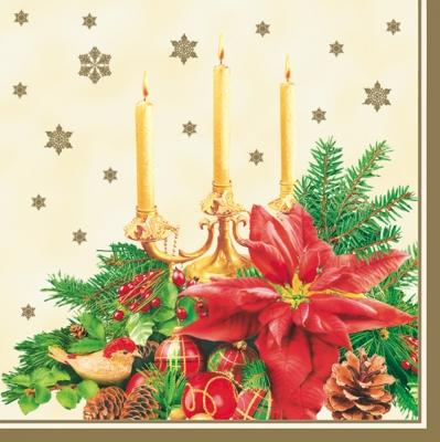 20 Servietten - 33 x 33 cm ,  Früchte - Zapfen,  Weihnachten - Weihnachtsstern,  Weihnachten,  lunchservietten,  Zapfen,  Kerzen,  Weihnachtsstern
