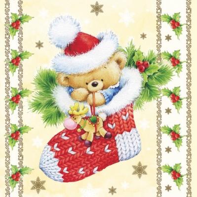 20 Servietten - 33 x 33 cm ,  Weihnachten - Nikolausstiefel,  Spielsachen - Stofftiere,  Pflanzen - Ilex,  Weihnachten,  lunchservietten