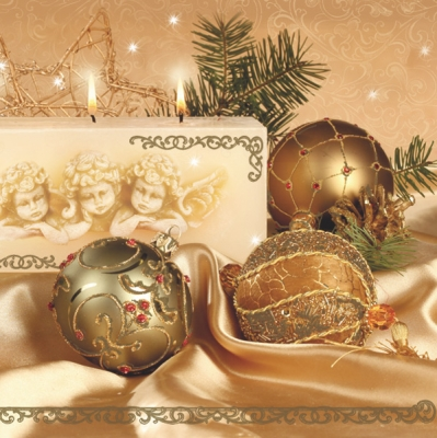 Lunch Servietten nostalgia cream/gold,  Weihnachten - Baumschmuck,  Weihnachten,  lunchservietten