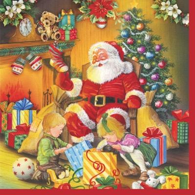Lunch Servietten Kinder mit Weihnachtsmann,  Spiele -  Sonstige,  Menschen - Kinder,  Weihnachten - Weihnachtsmann,  Weihnachten,  lunchservietten,  Geschenke,  Kinder,  Weihnachtsmann
