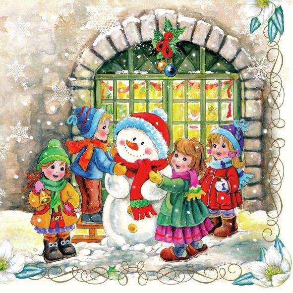 Lunch Servietten Four childs with Snowmen