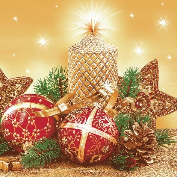 Lunch Servietten ,  Früchte - Zapfen,  Weihnachten - Sterne,  Weihnachten - Baumschmuck,  Weihnachten,  lunchservietten,  Zapfen,  Sterne,  Kugeln,  Tannenzweige