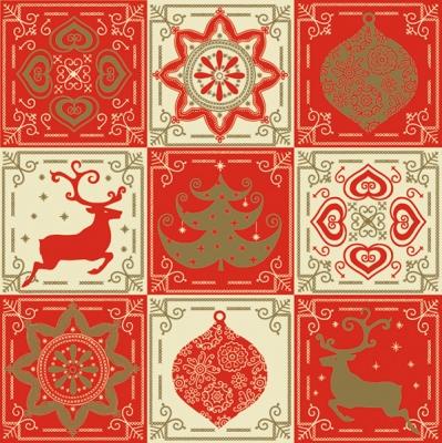 Servietten Weihnachten,  Tiere - Reh / Hirsch,  Weihnachten - Baumschmuck,  Weihnachten - Weihnachtsbaum,  Weihnachten,  lunchservietten,  Kugeln,  Hirsch,  Weihnachtsbaum