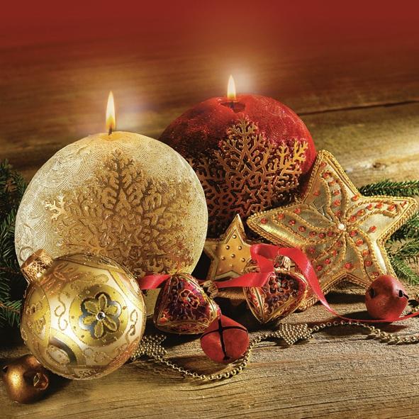 Servietten 33 x 33 cm,  Weihnachten - Kerzen,  Weihnachten - Baumschmuck,  Weihnachten,  lunchservietten,  Sterne,  Kerzen,  Kugeln