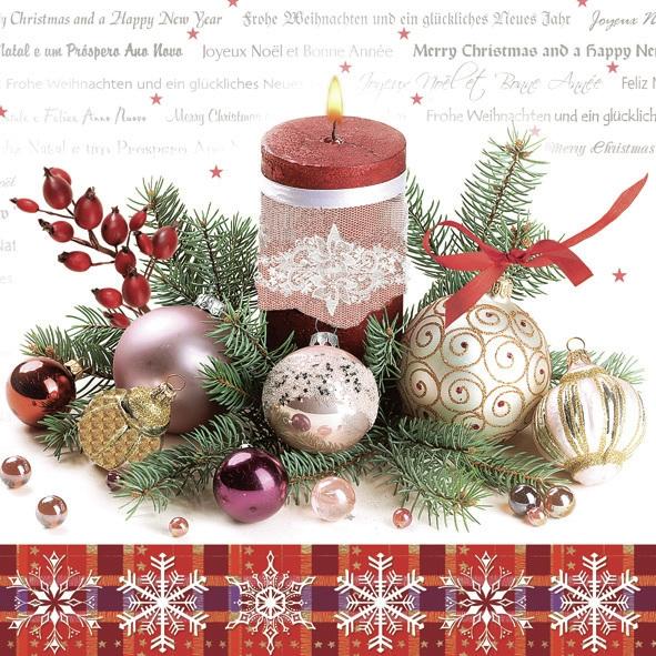Lunch Servietten ,  Weihnachten - Kerzen,  Weihnachten - Baumschmuck,  Weihnachten,  lunchservietten,  Hagebutten,  Kerzen,  Kugeln
