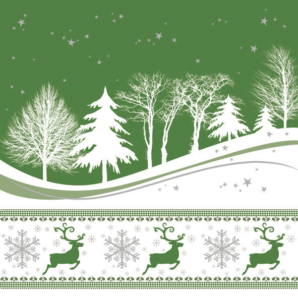 Servietten Winter,  Tiere - Reh / Hirsch,  Winter - Kristalle / Flocken,  Weihnachten,  lunchservietten,  Bäume,  Hirsch,  Sterne