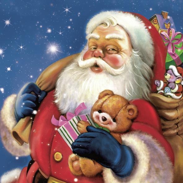 Lunch Servietten ,  Weihnachten - Geschenke,  Weihnachten - Weihnachtsmann,  Weihnachten,  lunchservietten,  Weihnachtsmann,  Geschenke,  Teddybär