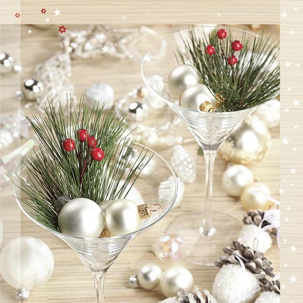 Lunch Servietten ,  Weihnachten - Baumschmuck,  Weihnachten,  lunchservietten,  Gläser,  Beeren,  Zweige