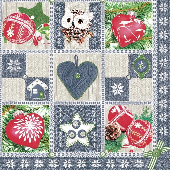 Servietten 33 x 33 cm,  Weihnachten - Baumschmuck,  Weihnachten,  lunchservietten,  Herz,  Sterne