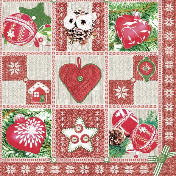 Lunch Servietten ,  Weihnachten - Baumschmuck,  Weihnachten,  lunchservietten,  Sterne,  Herz