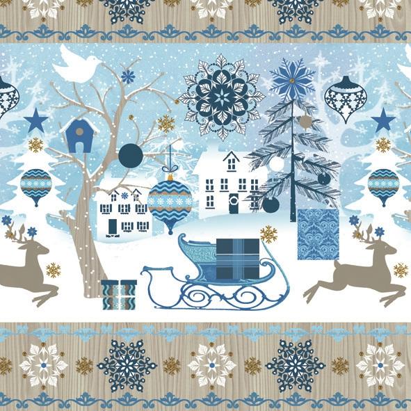 Lunch Servietten ,  Tiere - Reh / Hirsch,  Winter - Schlitten,  Weihnachten - Geschenke,  Weihnachten,  lunchservietten,  Rentier,  Schlitten,  Stadt
