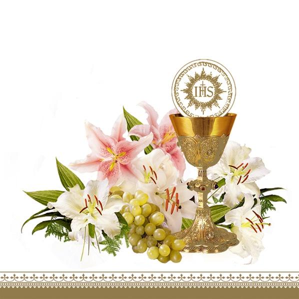 Lunch Servietten Kommunion weiß/gold,  Blumen -  Sonstige,  Früchte - Weintrauben,  Ereignisse - Kommunion,  Everyday,  lunchservietten,  Lilien