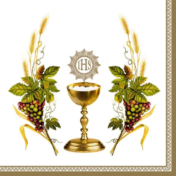 Lunch Servietten Kirche weiß,  Früchte - Weintrauben,  Ereignisse - Kommunion,  Everyday,  lunchservietten,  Weintrauben,  Kelch,  weiß,  Konfirmation