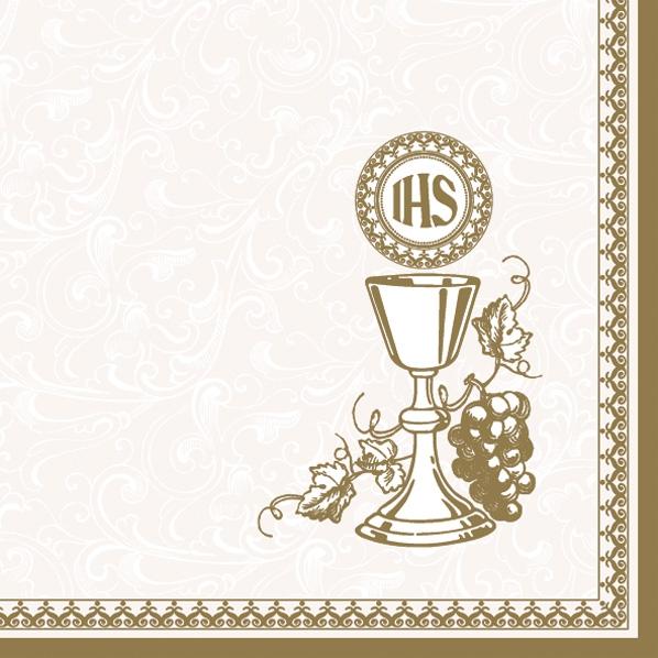 20 Servietten - 33 x 33 cm ,  Früchte - Weintrauben,  Ereignisse - Kommunion,  Everyday,  lunchservietten,  Weintrauben,  weiß,  Kelch,  Konfirmation