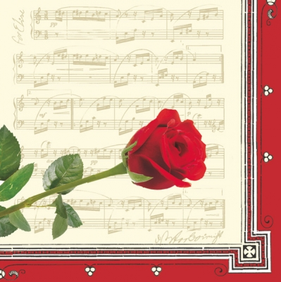 Lunch Servietten Roses of music cream/red,  Sonstiges - Musik,  Blumen - Rosen,  Everyday,  lunchservietten