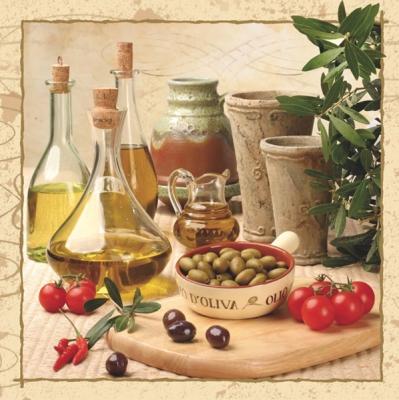 20 Servietten - 33 x 33 cm ,  Früchte - Oliven,  Regionen - Mediteran,  Gemüse - Tomaten,  Everyday,  lunchservietten