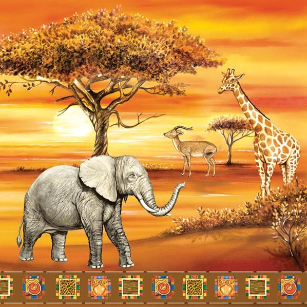 Lunch Servietten Safari,  Tiere - Elefanten,  Tiere - Giraffen,  Regionen - Afrika,  Everyday,  lunchservietten