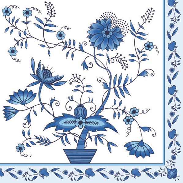 Lunch Servietten white/blue pattern