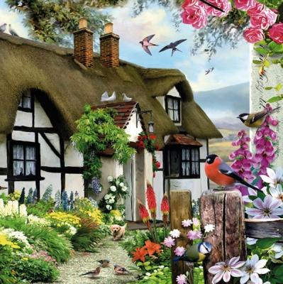 Lunch Servietten Bauernhaus,  Pflanzen,  Blumen -  Sonstige,  Tiere - Vögel,  Everyday,  lunchservietten,  Häuser