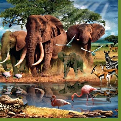 20 Servietten - 33 x 33 cm ,  Tiere - Vögel,  Regionen - Afrika,  Tiere - Elefanten,  Everyday,  lunchservietten