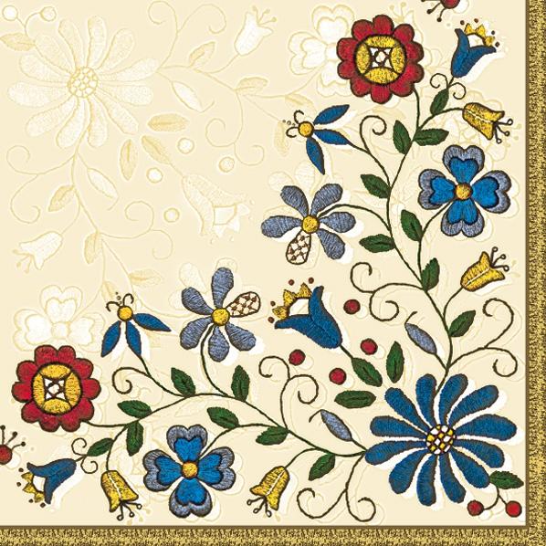 Lunch Servietten Blumenborte,  Blumen -  Sonstige,  Everyday,  lunchservietten,  Blumen