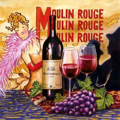 Lunch Servietten Moulin Rouge,  Regionen - Länder - Frankreich,  Früchte - Weintrauben,  Getränke - Wein / Sekt,  Everyday,  lunchservietten