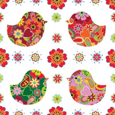 Lunch Servietten 4 Kücken mit Blumenmuster,  Tiere - Kücken,  Blumen -  Sonstige,  Everyday,  lunchservietten,  Blumen,  Küken