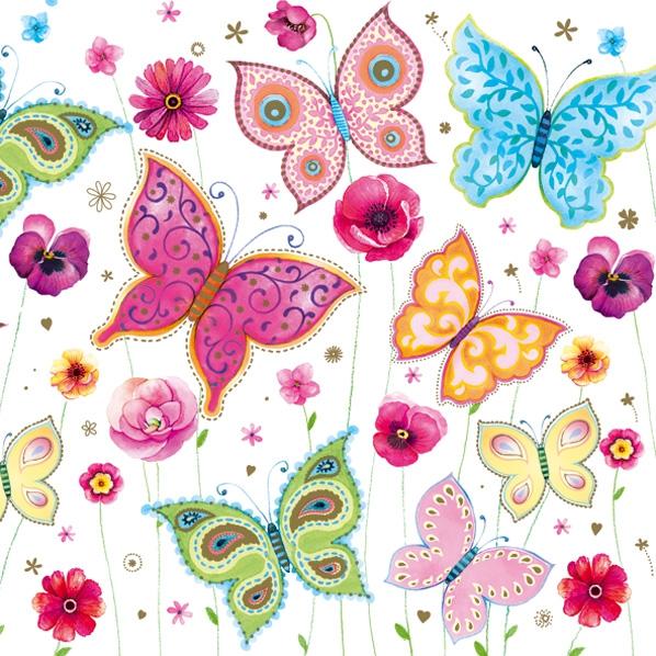 Lunch Servietten Butterflies ,  Blumen -  Sonstige,  Tiere - Schmetterlinge,  Blumen,  Everyday,  lunchservietten