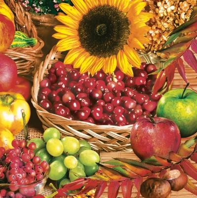 Lunch Servietten Herbstfrüchte im Korb,  Früchte - Äpfel,  Früchte - Weintrauben,  Blumen - Sonnenblumen,  Everyday,  lunchservietten,  Sonnenblume,  Weintrauben,  Äpfel