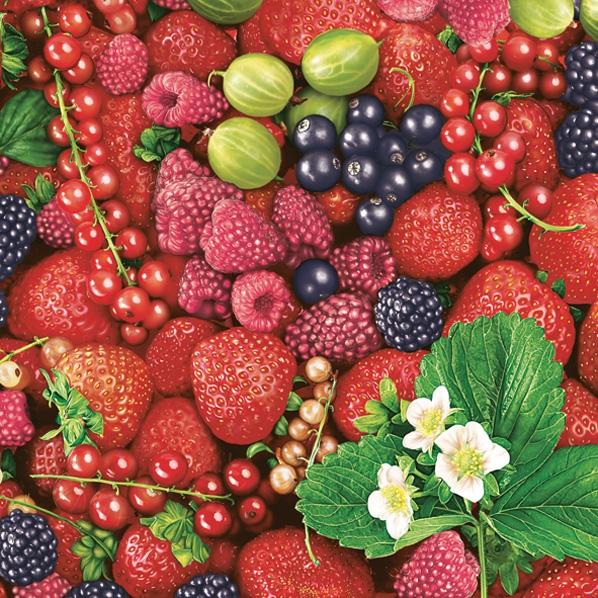 Servietten / Johannisbeeren,  Früchte - Johannisbeeren,  Früchte - Erdbeeren,  Früchte - Brombeeren,  Everyday,  lunchservietten,  Erdbeeren,  Brombeere,  Johannisbeere