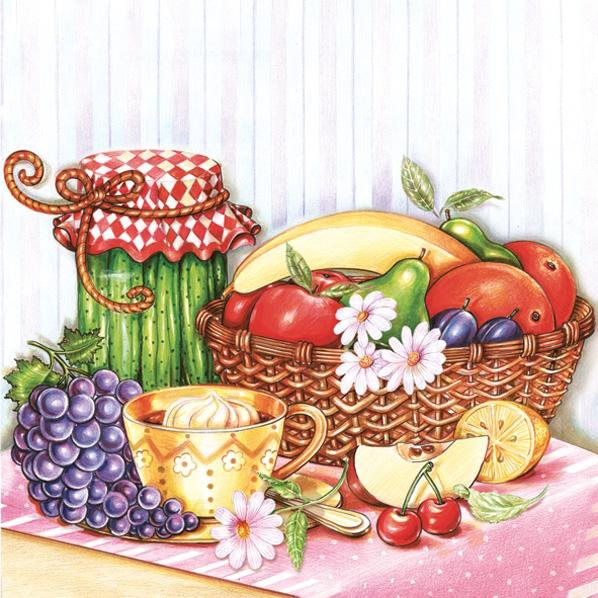 Lunch Servietten Obstkorb,  Früchte - Birnen,  Früchte - Kirschen,  Früchte - Weintrauben,  Everyday,  lunchservietten,  Banane,  Gurken,  Birnen