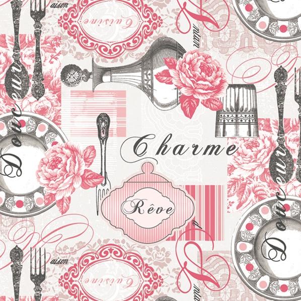 Lunch Servietten Teller+Besteck grau/rosa