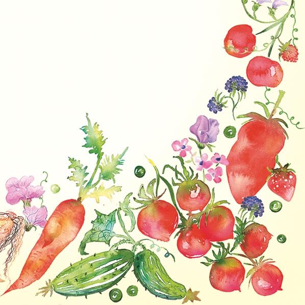 Lunch Servietten Obst/Gemüse Borte,  Gemüse -  Sonstiges,  Everyday,  lunchservietten,  Möhren,  Gurken,  Paprika