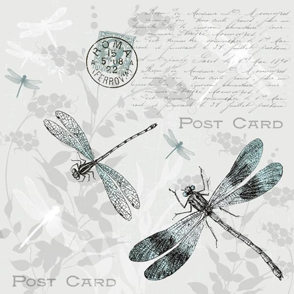 Maki POL-MAK Collection,  Sonstiges - Schriften,  Tiere -  Sonstige,  Everyday,  lunchservietten,  Libellen,  Schriften