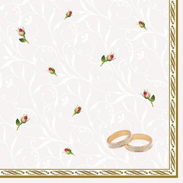 Lunch Servietten Trauringe-Rosen weiß,  Blumen -  Sonstige,  Sonstiges - Muster,  Ereignisse - Hochzeit,  Everyday,  lunchservietten