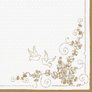 20 Servietten - 33 x 33 cm ,  Sonstiges -  Sonstiges,  Sonstiges - Muster,  Ereignisse - Hochzeit,  Everyday,  lunchservietten,  Tauben