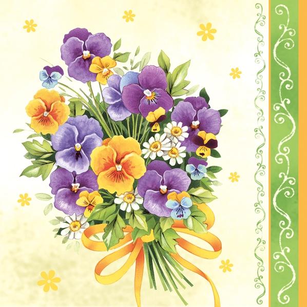 Lunch Servietten Frühlingsstrauß,  Blumen - Stiefmütterchen,  Frühjahr,  lunchservietten