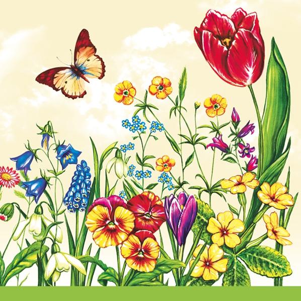 Lunch Servietten Flowerfield yellow,  Blumen - Hyazinthen,  Blumen - Stiefmütterchen,  Blumen - Tulpen,  Frühjahr,  lunchservietten,  Schmetterling