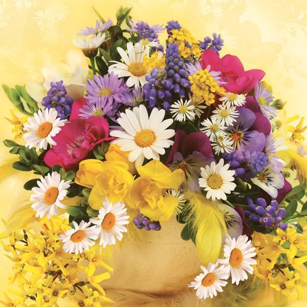 Servietten nach Jahreszeiten,  Blumen - Hyazinthen,  Blumen - Magariten,  Frühjahr,  lunchservietten,  Blumenstrauß