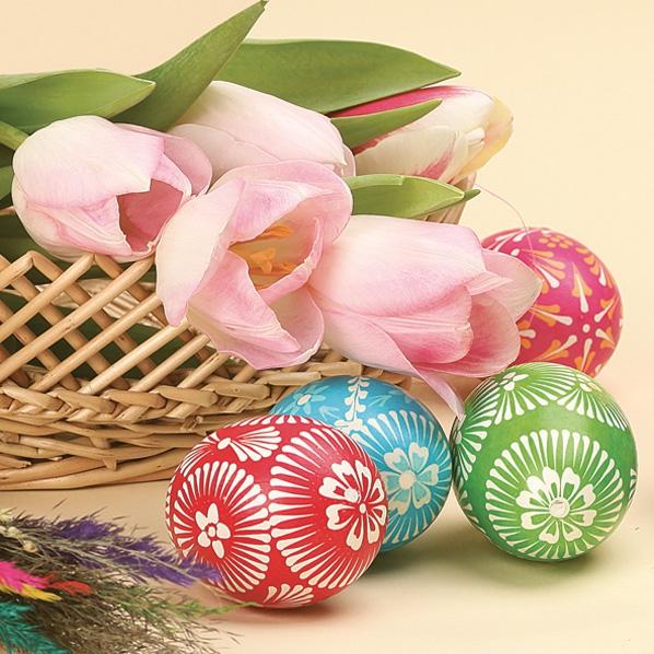 Maki POL-MAK Collektion,  Blumen - Tulpen,  Ostern - Ostereier,  Ostern,  lunchservietten,  Ostereier,  Tulpen