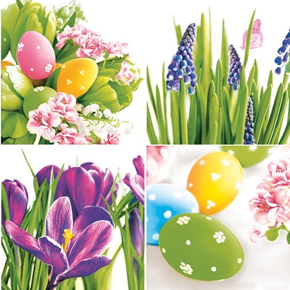 Servietten nach Jahreszeiten,  Blumen - Krokus,  Blumen - Hyazinthen,  Ostern - Ostereier,  Ostern,  lunchservietten,  Ostereier,  Hyazinthen