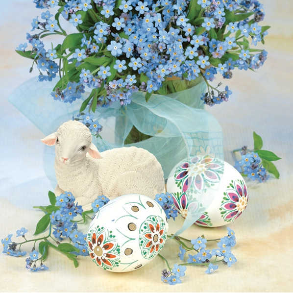 Servietten Ostern,  Tiere - Schafe,  Blumen -  Sonstige,  Ostern - Ostereier,  Ostern,  lunchservietten,  Blumen,  Schafe,  Ostereier