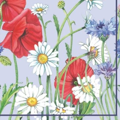 Lunch Servietten Flowerfield blue,  Blumen - Magariten,  Blumen - Mohn,  Everyday,  lunchservietten,  Kornblumen
