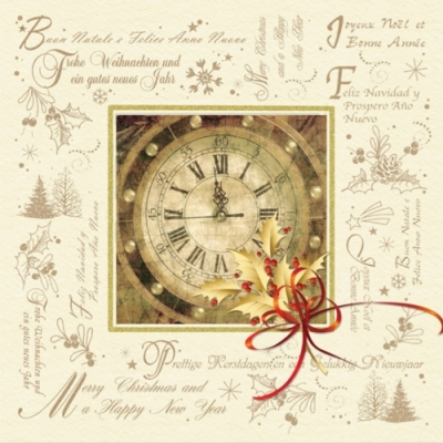 Lunch Servietten Happy New Year,  Sonstiges - Schriften,  Weihnachten,  lunchservietten,  Uhr