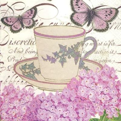 Lunch Servietten Louisa,  Tiere - Schmetterlinge,  Blumen,  Everyday,  lunchservietten,  Hortensien,  Tassen