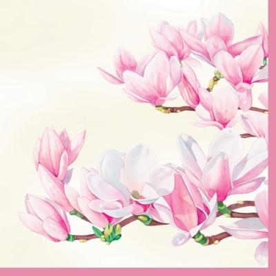 Lunch Servietten Magnolia cream,  Blumen - Magnolien,  Everyday,  lunchservietten
