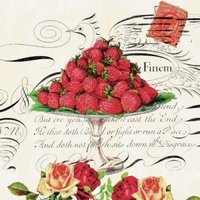 Lunch Servietten Regina,  Früchte - Erdbeeren,  Blumen - Rosen,  Everyday,  lunchservietten