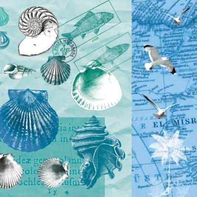 Nouveau Horeca,  Tiere - Vögel,  Tiere - Fische,  Regionen - Strand / Meer - Muscheln,  Everyday,  lunchservietten
