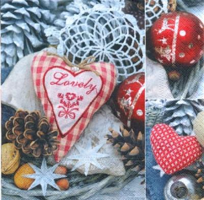 Servietten / Früchte,  Weihnachten - Baumschmuck,  Früchte - Zapfen,  Weihnachten,  lunchservietten,  Baumkugeln,  Herz