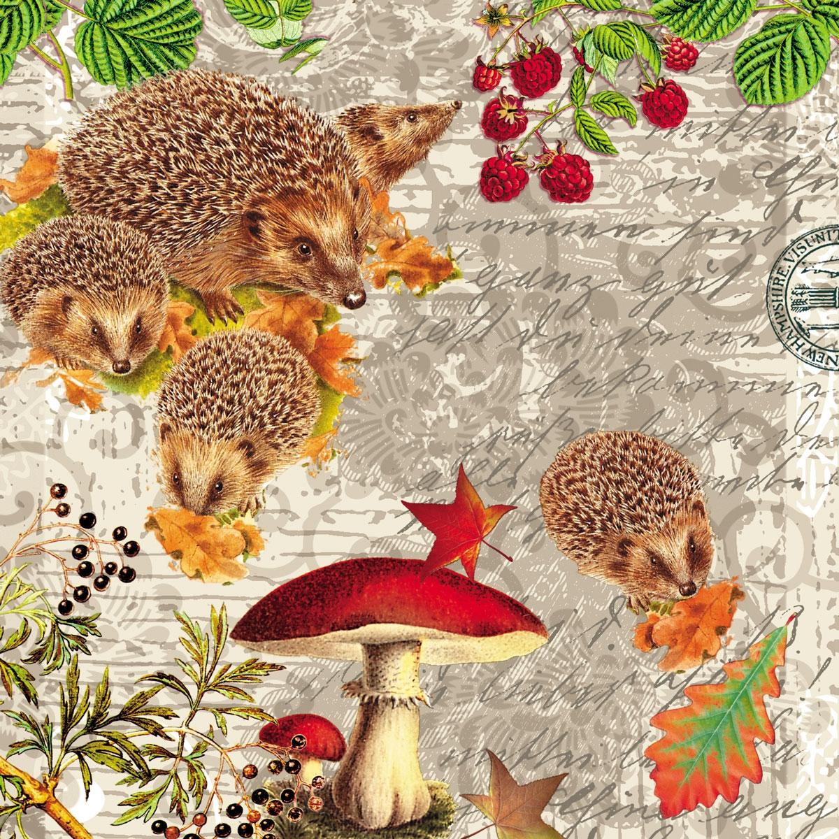 Lunch Servietten Hedgehog Family,  Tiere - Igel,  Früchte - Pilze,  Herbst,  lunchservietten,  Beeren,  Igel
